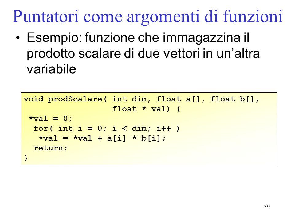 39 Puntatori come argomenti di funzioni Esempio: funzione che immagazzina il prodotto scalare di due vettori in unaltra variabile void prodScalare( in