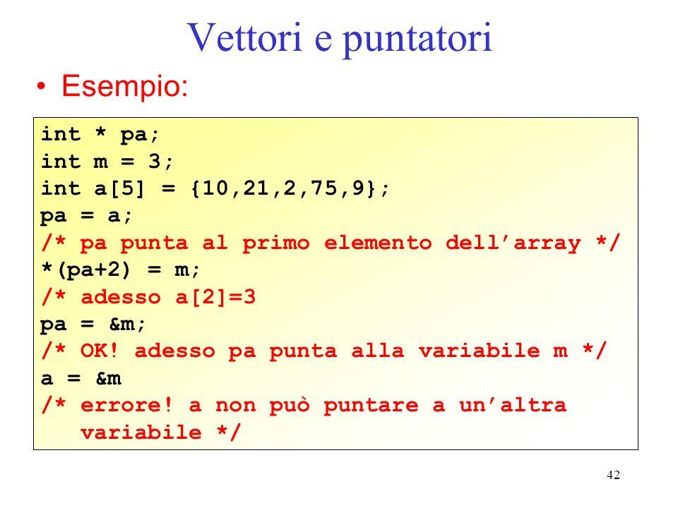 42 Vettori e puntatori Esempio: int * pa; int m = 3; int a[5] = {10,21,2,75,9}; pa = a; /* pa punta al primo elemento dellarray */ *(pa+2) = m; /* ade