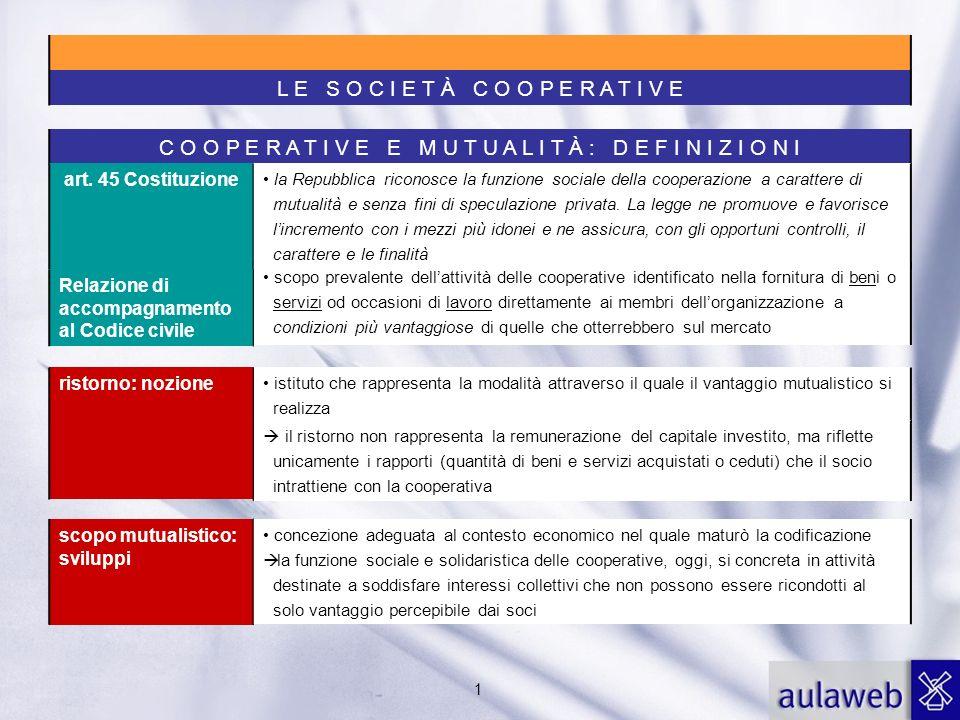 1 C O O P E R A T I V E E M U T U A L I T À : D E F I N I Z I O N I art. 45 Costituzione la Repubblica riconosce la funzione sociale della cooperazion
