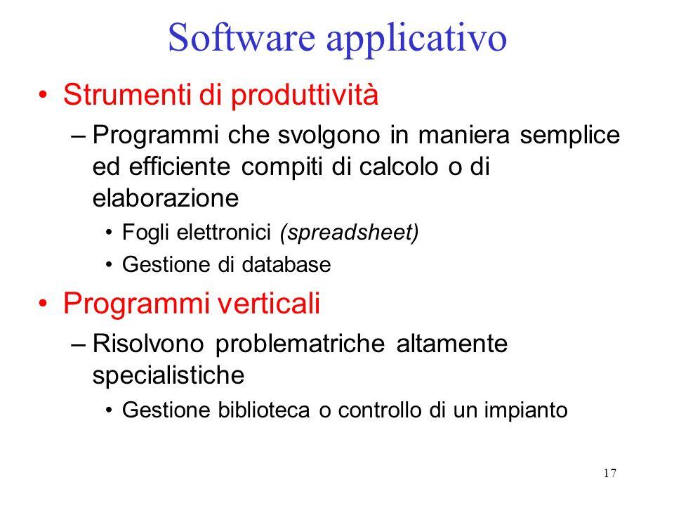 17 Software applicativo Strumenti di produttività –Programmi che svolgono in maniera semplice ed efficiente compiti di calcolo o di elaborazione Fogli