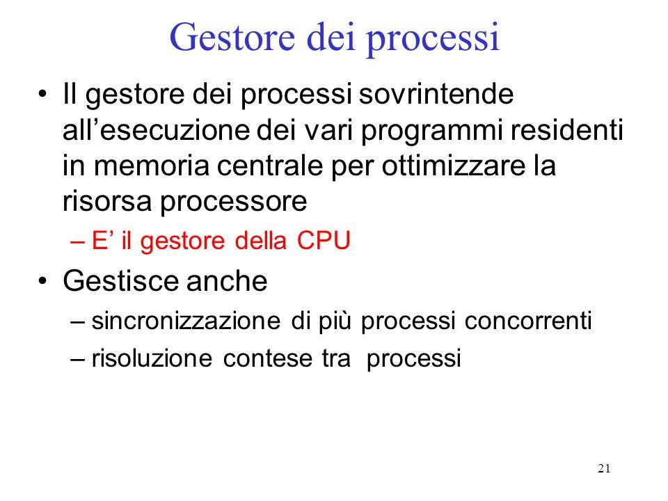 21 Gestore dei processi Il gestore dei processi sovrintende allesecuzione dei vari programmi residenti in memoria centrale per ottimizzare la risorsa