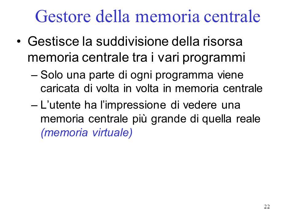 22 Gestore della memoria centrale Gestisce la suddivisione della risorsa memoria centrale tra i vari programmi –Solo una parte di ogni programma viene