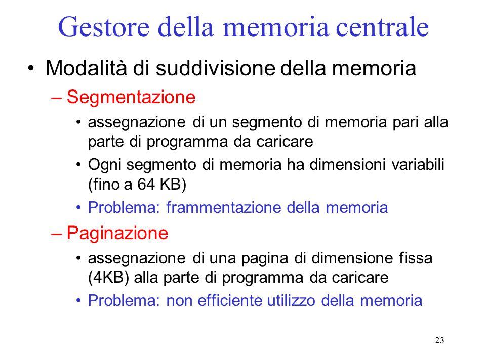 23 Gestore della memoria centrale Modalità di suddivisione della memoria –Segmentazione assegnazione di un segmento di memoria pari alla parte di prog