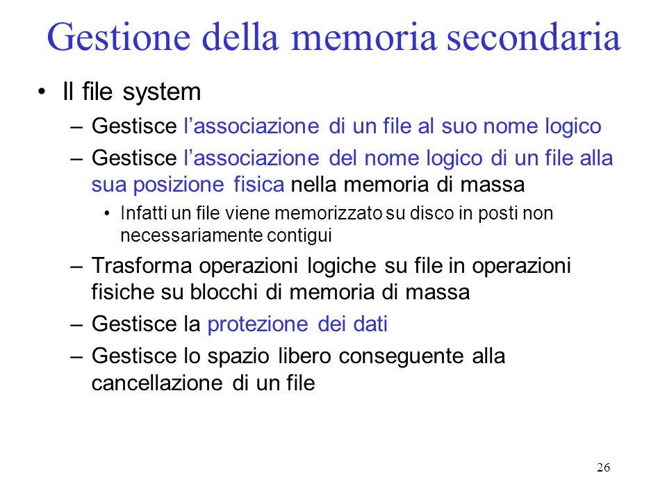 26 Gestione della memoria secondaria Il file system –Gestisce lassociazione di un file al suo nome logico –Gestisce lassociazione del nome logico di u