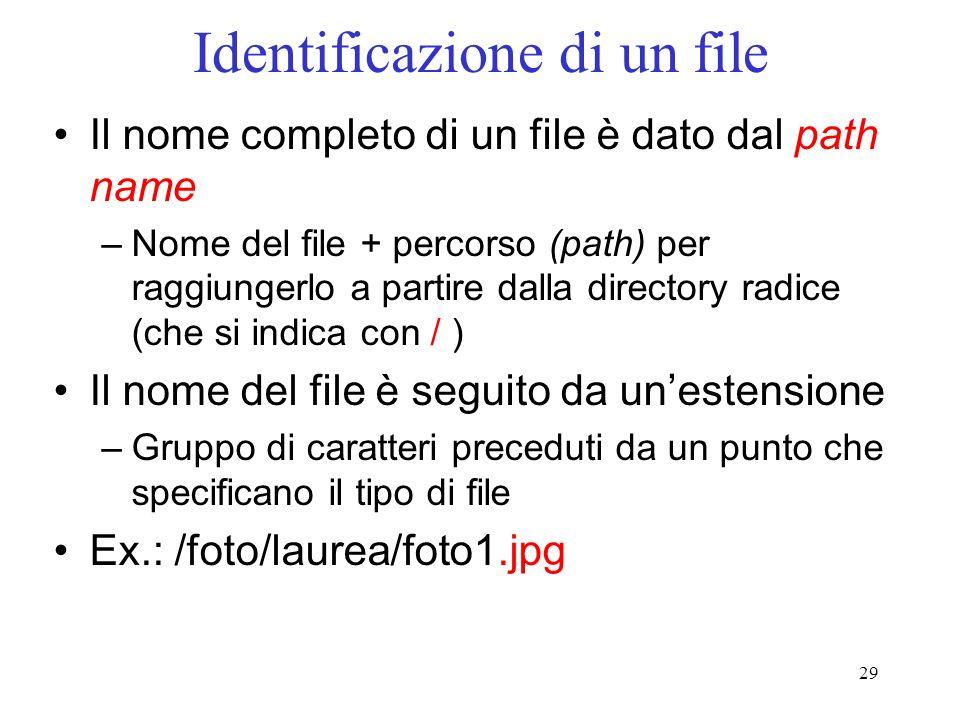 29 Identificazione di un file Il nome completo di un file è dato dal path name –Nome del file + percorso (path) per raggiungerlo a partire dalla directory radice (che si indica con / ) Il nome del file è seguito da unestensione –Gruppo di caratteri preceduti da un punto che specificano il tipo di file Ex.: /foto/laurea/foto1.jpg