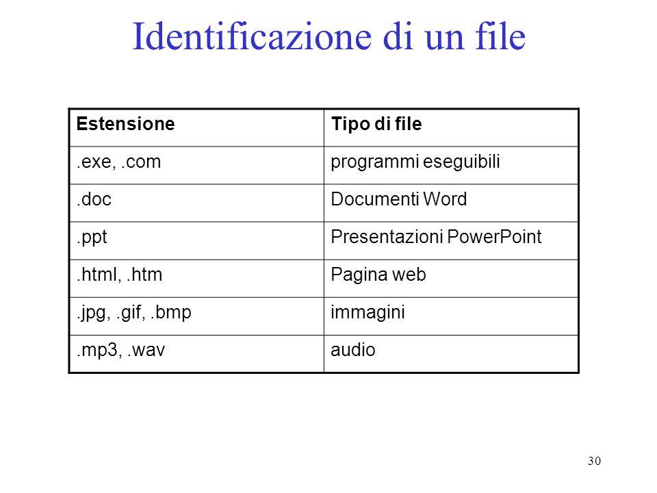 30 Identificazione di un file EstensioneTipo di file.exe,.comprogrammi eseguibili.docDocumenti Word.pptPresentazioni PowerPoint.html,.htmPagina web.jpg,.gif,.bmpimmagini.mp3,.wavaudio