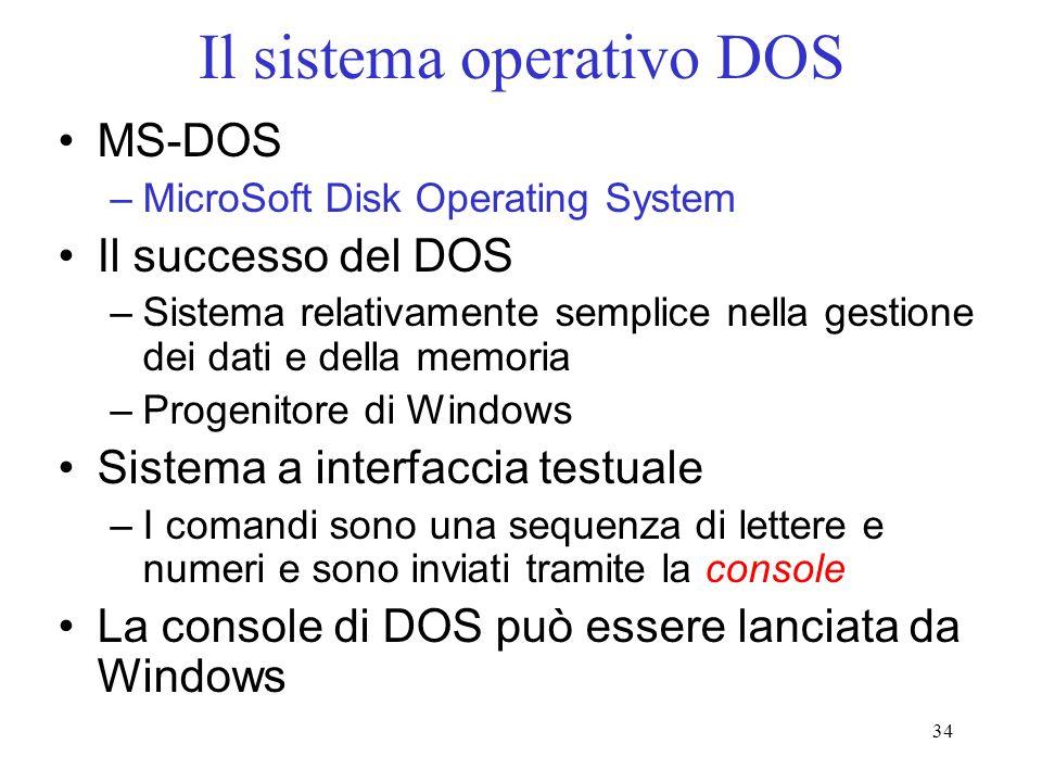 34 Il sistema operativo DOS MS-DOS –MicroSoft Disk Operating System Il successo del DOS –Sistema relativamente semplice nella gestione dei dati e della memoria –Progenitore di Windows Sistema a interfaccia testuale –I comandi sono una sequenza di lettere e numeri e sono inviati tramite la console La console di DOS può essere lanciata da Windows