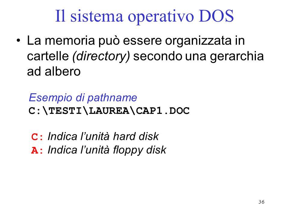 36 Il sistema operativo DOS La memoria può essere organizzata in cartelle (directory) secondo una gerarchia ad albero Esempio di pathname C:\TESTI\LAUREA\CAP1.DOC C: Indica lunità hard disk A: Indica lunità floppy disk