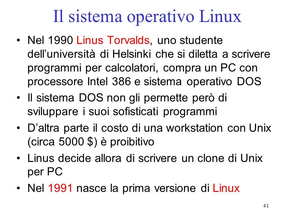 41 Il sistema operativo Linux Nel 1990 Linus Torvalds, uno studente delluniversità di Helsinki che si diletta a scrivere programmi per calcolatori, compra un PC con processore Intel 386 e sistema operativo DOS Il sistema DOS non gli permette però di sviluppare i suoi sofisticati programmi Daltra parte il costo di una workstation con Unix (circa 5000 $) è proibitivo Linus decide allora di scrivere un clone di Unix per PC Nel 1991 nasce la prima versione di Linux