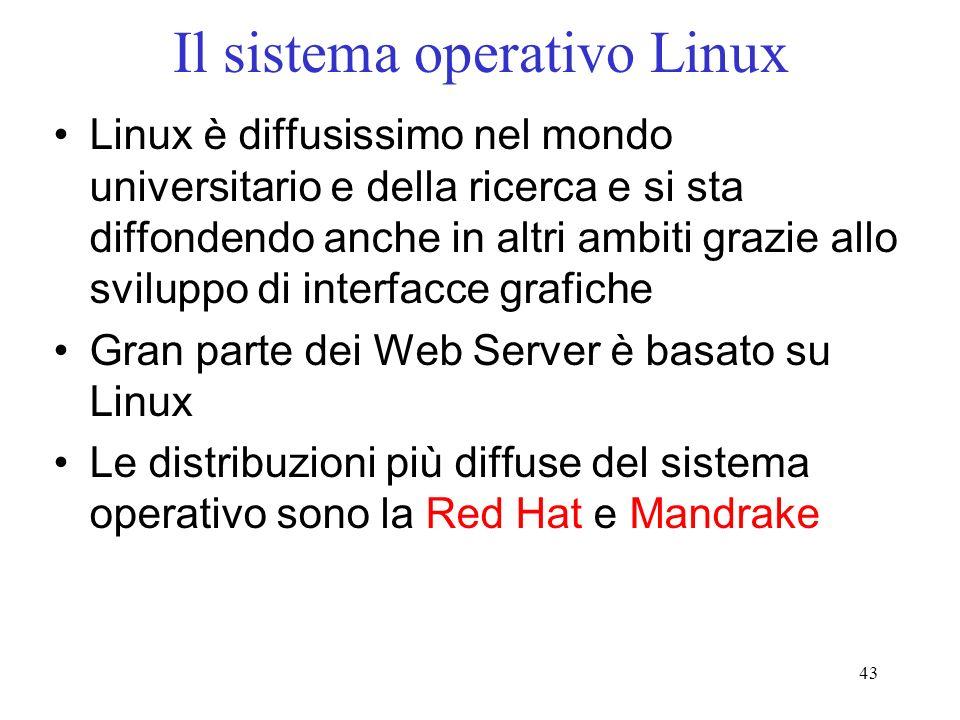 43 Il sistema operativo Linux Linux è diffusissimo nel mondo universitario e della ricerca e si sta diffondendo anche in altri ambiti grazie allo sviluppo di interfacce grafiche Gran parte dei Web Server è basato su Linux Le distribuzioni più diffuse del sistema operativo sono la Red Hat e Mandrake