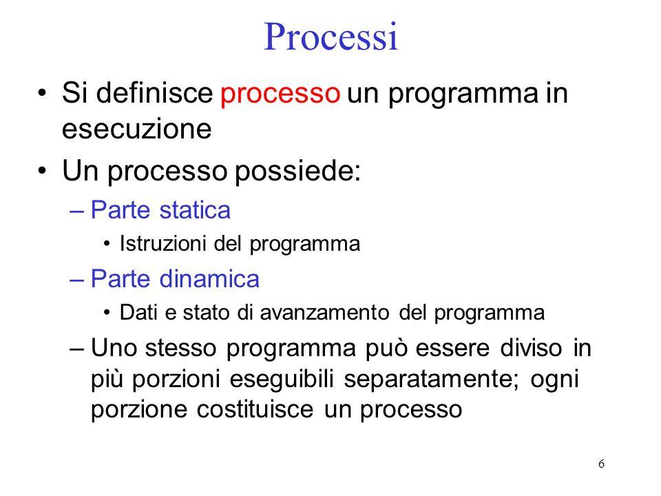 6 Processi Si definisce processo un programma in esecuzione Un processo possiede: –Parte statica Istruzioni del programma –Parte dinamica Dati e stato di avanzamento del programma –Uno stesso programma può essere diviso in più porzioni eseguibili separatamente; ogni porzione costituisce un processo