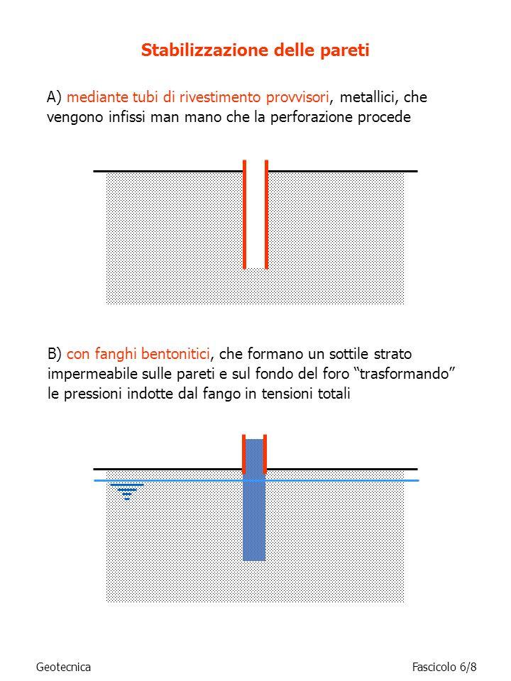 A) mediante tubi di rivestimento provvisori, metallici, che vengono infissi man mano che la perforazione procede Stabilizzazione delle pareti B) con f