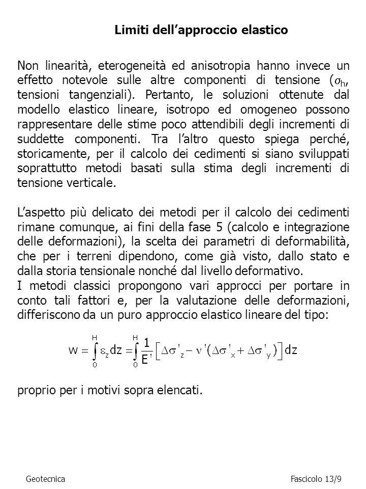 Limiti dellapproccio elastico GeotecnicaFascicolo 13/9 Non linearità, eterogeneità ed anisotropia hanno invece un effetto notevole sulle altre compone
