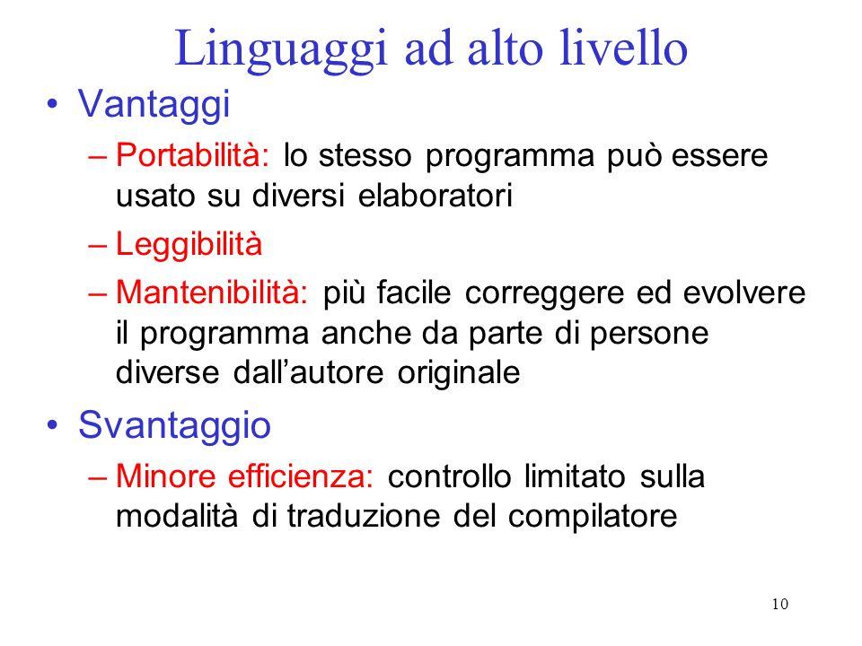 10 Linguaggi ad alto livello Vantaggi –Portabilità: lo stesso programma può essere usato su diversi elaboratori –Leggibilità –Mantenibilità: più facil