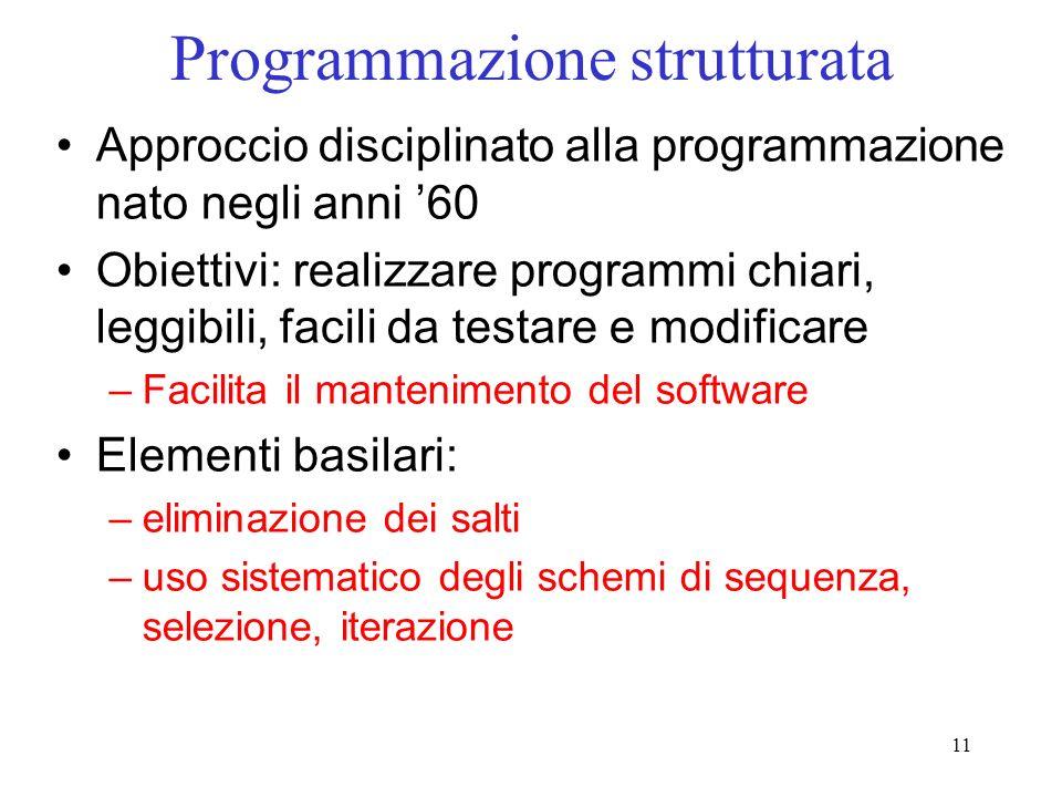 11 Programmazione strutturata Approccio disciplinato alla programmazione nato negli anni 60 Obiettivi: realizzare programmi chiari, leggibili, facili