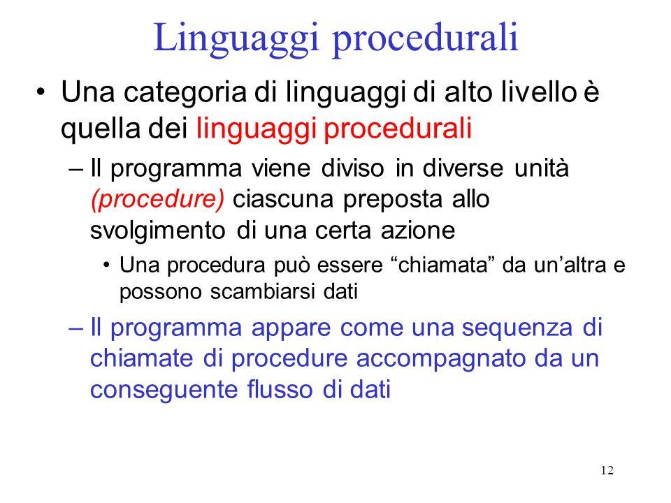 12 Linguaggi procedurali Una categoria di linguaggi di alto livello è quella dei linguaggi procedurali –Il programma viene diviso in diverse unità (pr