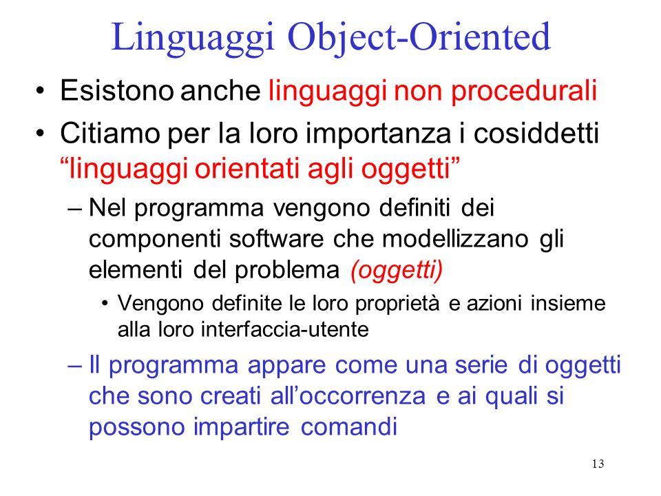 13 Linguaggi Object-Oriented Esistono anche linguaggi non procedurali Citiamo per la loro importanza i cosiddetti linguaggi orientati agli oggetti –Ne