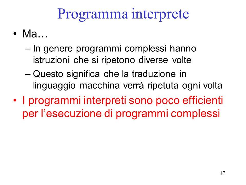 17 Programma interprete Ma… –In genere programmi complessi hanno istruzioni che si ripetono diverse volte –Questo significa che la traduzione in lingu