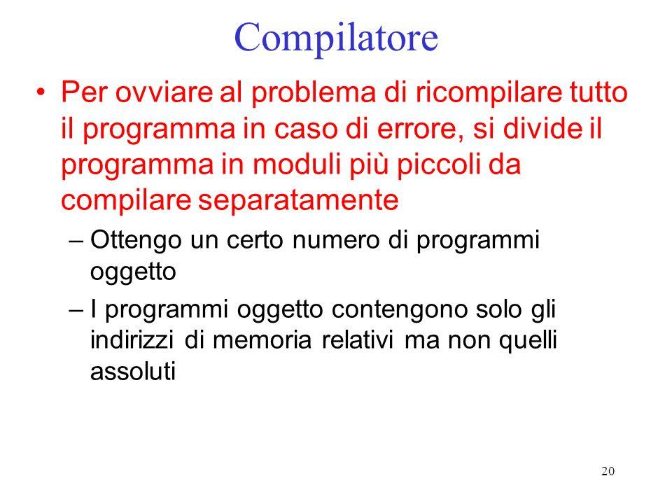 20 Compilatore Per ovviare al problema di ricompilare tutto il programma in caso di errore, si divide il programma in moduli più piccoli da compilare