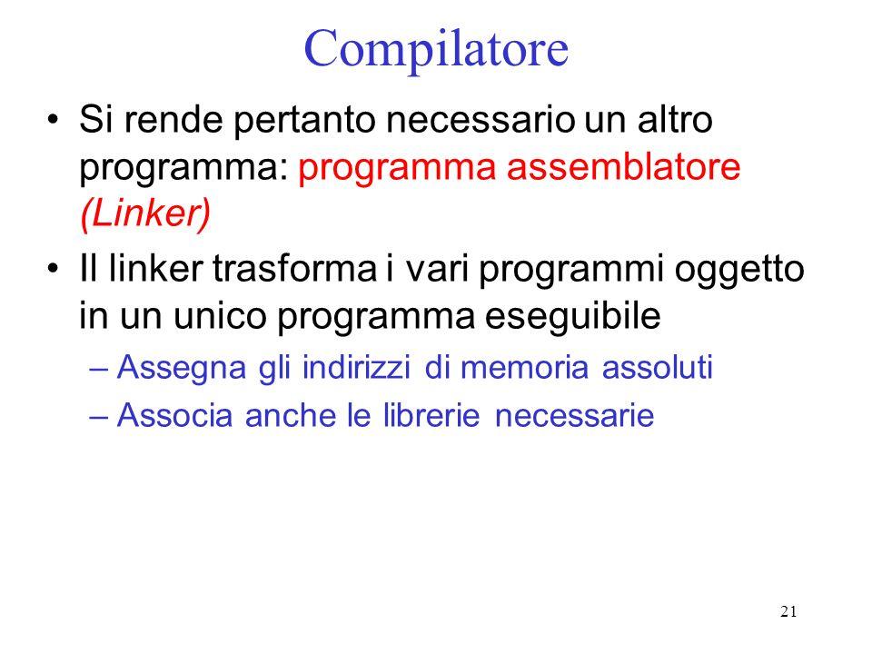 21 Compilatore Si rende pertanto necessario un altro programma: programma assemblatore (Linker) Il linker trasforma i vari programmi oggetto in un uni
