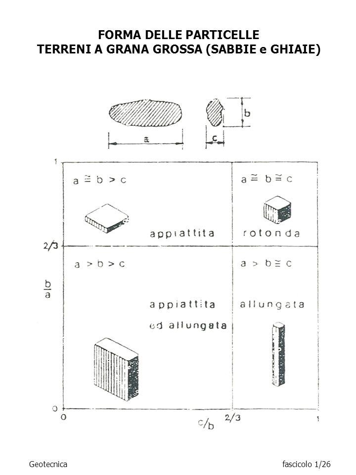 FORMA DELLE PARTICELLE TERRENI A GRANA GROSSA (SABBIE e GHIAIE) Geotecnicafascicolo 1/26