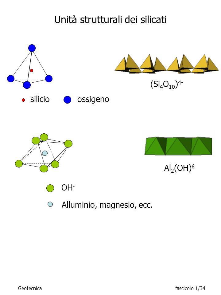 OH - Alluminio, magnesio, ecc. ossigenosilicio Unità strutturali dei silicati (Si 4 O 10 ) 4- Al 2 (OH) 6 Geotecnicafascicolo 1/34