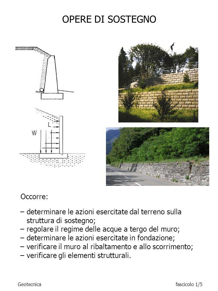 OPERE DI SOSTEGNO –determinare le azioni esercitate dal terreno sulla struttura di sostegno; –regolare il regime delle acque a tergo del muro; –determ