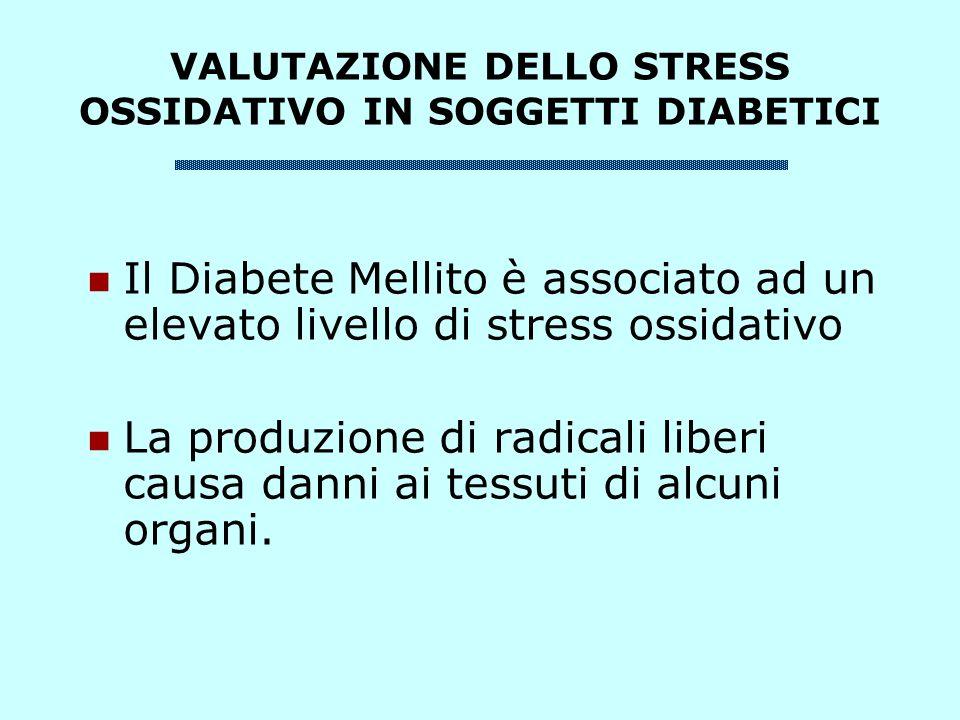 VALUTAZIONE DELLO STRESS OSSIDATIVO IN SOGGETTI DIABETICI Il Diabete Mellito è associato ad un elevato livello di stress ossidativo La produzione di radicali liberi causa danni ai tessuti di alcuni organi.