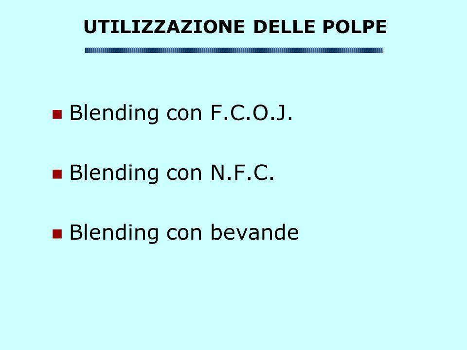 Blending con F.C.O.J. Blending con N.F.C. Blending con bevande UTILIZZAZIONE DELLE POLPE