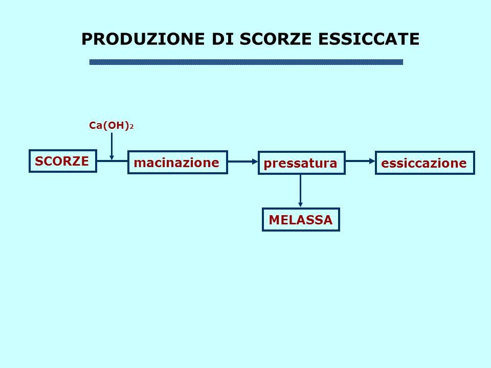PRODUZIONE DI SCORZE ESSICCATE SCORZE macinazione pressaturaessiccazione MELASSA Ca(OH) 2