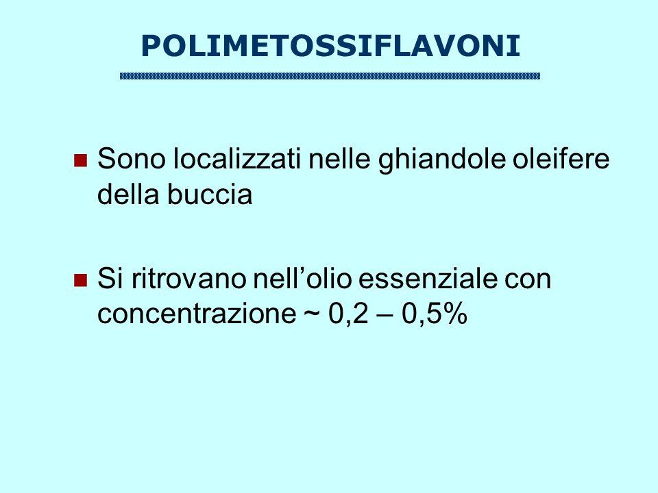 POLIMETOSSIFLAVONI Sono localizzati nelle ghiandole oleifere della buccia Si ritrovano nellolio essenziale con concentrazione ~ 0,2 – 0,5%