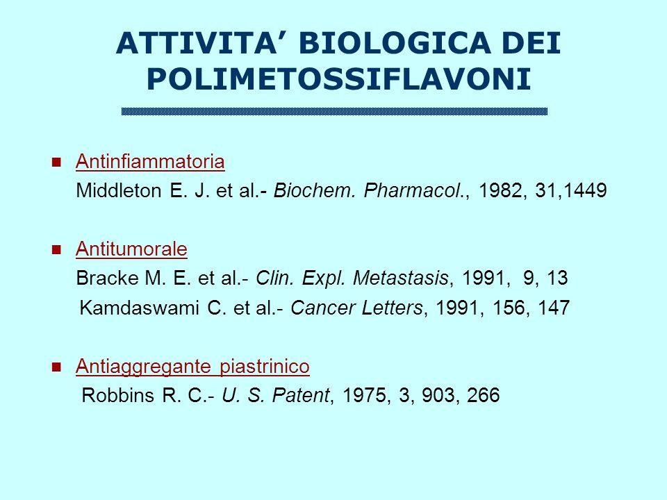 ATTIVITA BIOLOGICA DEI POLIMETOSSIFLAVONI Antinfiammatoria Middleton E.