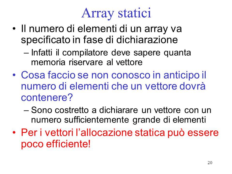 20 Array statici Il numero di elementi di un array va specificato in fase di dichiarazione –Infatti il compilatore deve sapere quanta memoria riservare al vettore Cosa faccio se non conosco in anticipo il numero di elementi che un vettore dovrà contenere.