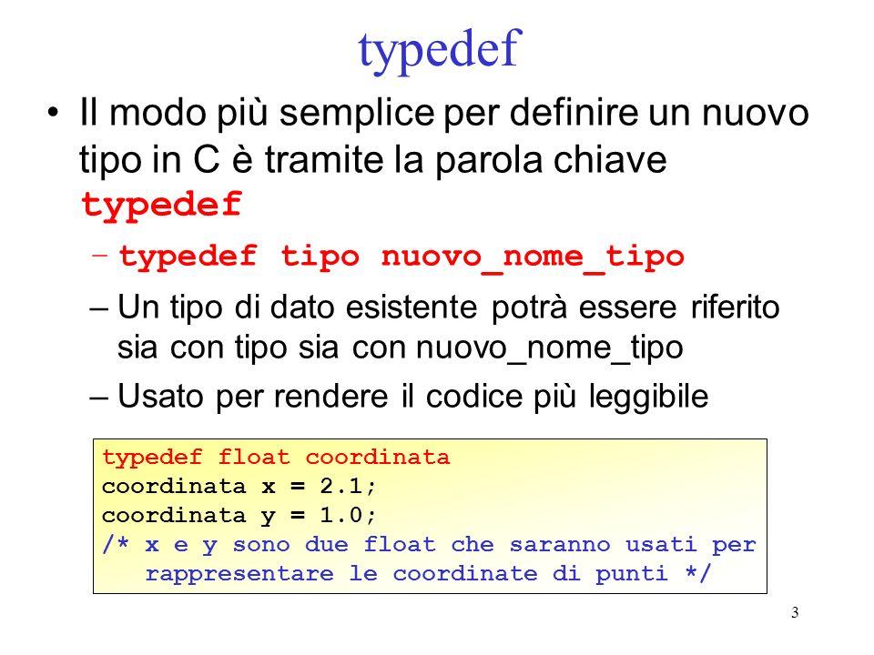 3 typedef Il modo più semplice per definire un nuovo tipo in C è tramite la parola chiave typedef –typedef tipo nuovo_nome_tipo –Un tipo di dato esistente potrà essere riferito sia con tipo sia con nuovo_nome_tipo –Usato per rendere il codice più leggibile typedef float coordinata coordinata x = 2.1; coordinata y = 1.0; /* x e y sono due float che saranno usati per rappresentare le coordinate di punti */