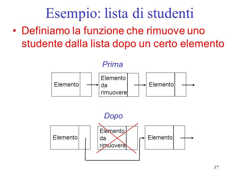 37 Esempio: lista di studenti Definiamo la funzione che rimuove uno studente dalla lista dopo un certo elemento Elemento da rimuovere Elemento Prima Dopo Elemento da rimuovere Elemento