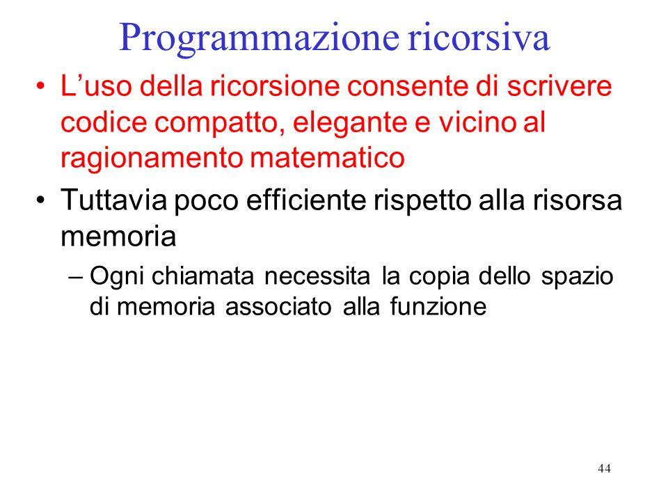 44 Programmazione ricorsiva Luso della ricorsione consente di scrivere codice compatto, elegante e vicino al ragionamento matematico Tuttavia poco efficiente rispetto alla risorsa memoria –Ogni chiamata necessita la copia dello spazio di memoria associato alla funzione