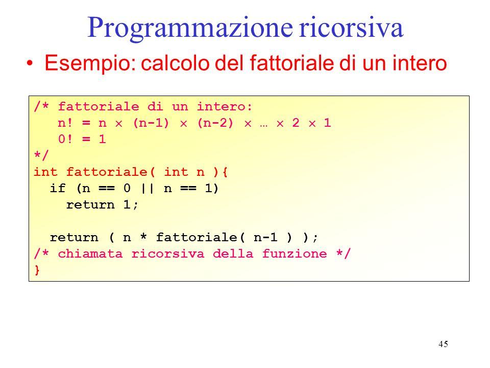 45 Programmazione ricorsiva Esempio: calcolo del fattoriale di un intero /* fattoriale di un intero: n.