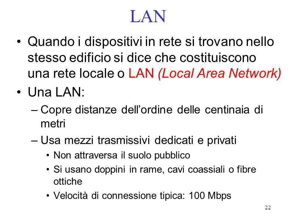 22 LAN Quando i dispositivi in rete si trovano nello stesso edificio si dice che costituiscono una rete locale o LAN (Local Area Network) Una LAN: –Co