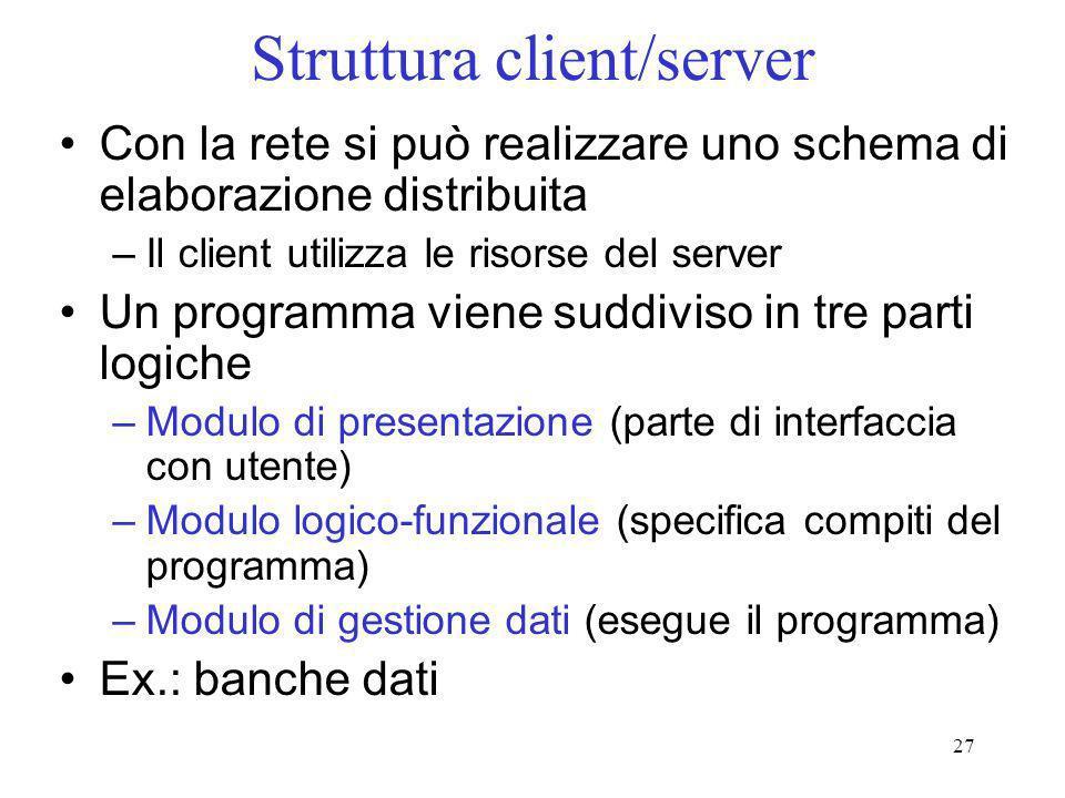 27 Struttura client/server Con la rete si può realizzare uno schema di elaborazione distribuita –Il client utilizza le risorse del server Un programma