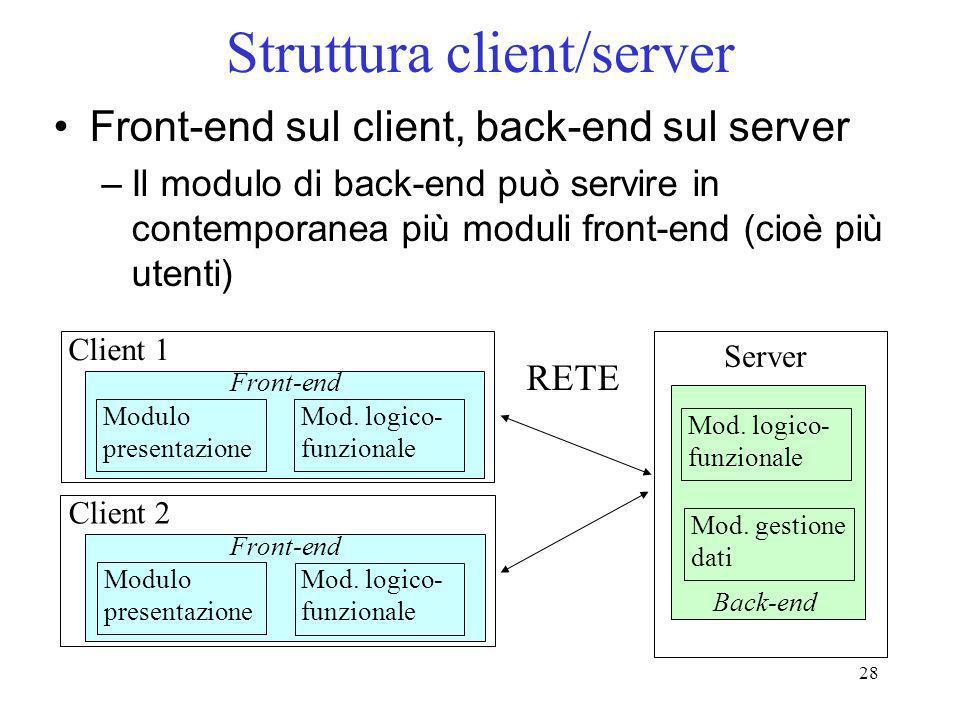 28 Struttura client/server Front-end sul client, back-end sul server –Il modulo di back-end può servire in contemporanea più moduli front-end (cioè pi