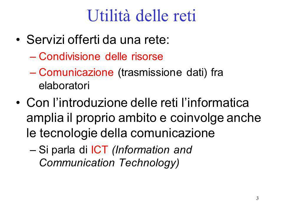3 Utilità delle reti Servizi offerti da una rete: –Condivisione delle risorse –Comunicazione (trasmissione dati) fra elaboratori Con lintroduzione del