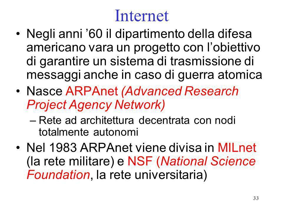 33 Internet Negli anni 60 il dipartimento della difesa americano vara un progetto con lobiettivo di garantire un sistema di trasmissione di messaggi a
