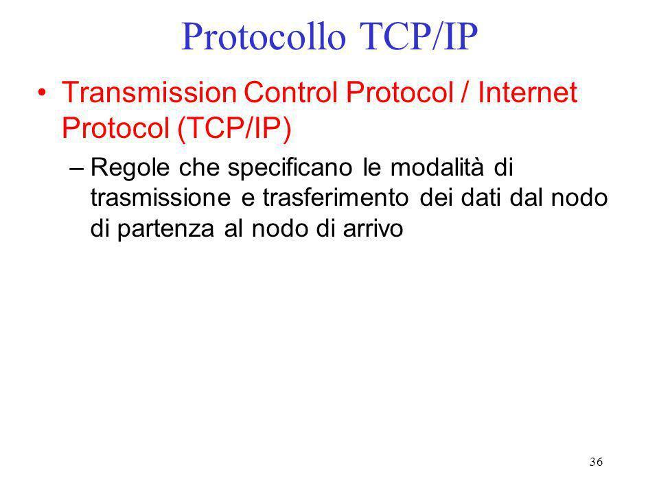 36 Protocollo TCP/IP Transmission Control Protocol / Internet Protocol (TCP/IP) –Regole che specificano le modalità di trasmissione e trasferimento de
