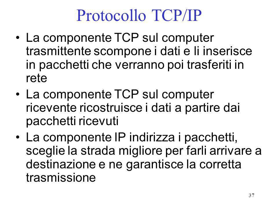 37 Protocollo TCP/IP La componente TCP sul computer trasmittente scompone i dati e li inserisce in pacchetti che verranno poi trasferiti in rete La co