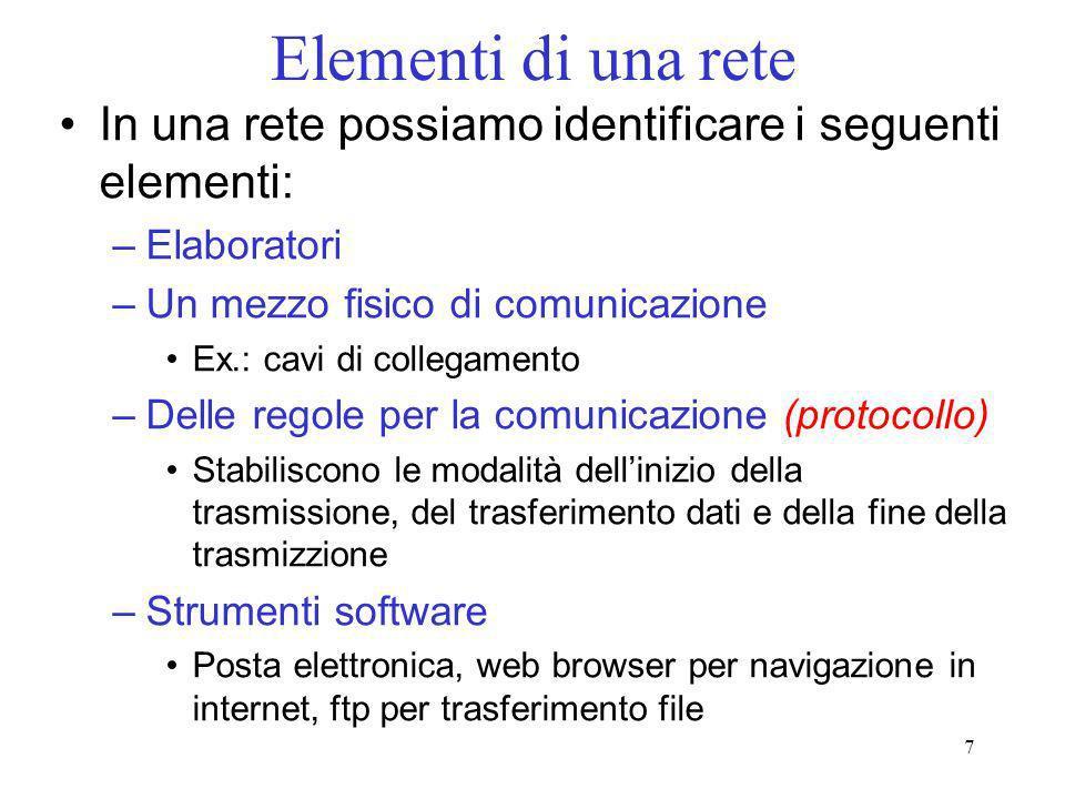 7 Elementi di una rete In una rete possiamo identificare i seguenti elementi: –Elaboratori –Un mezzo fisico di comunicazione Ex.: cavi di collegamento