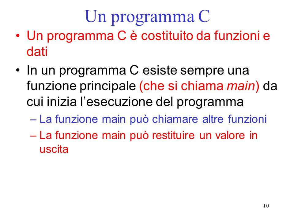 10 Un programma C Un programma C è costituito da funzioni e dati In un programma C esiste sempre una funzione principale (che si chiama main) da cui i