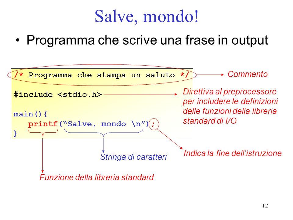 12 Salve, mondo! Programma che scrive una frase in output /* Programma che stampa un saluto */ #include main(){ printf(Salve, mondo \n); } Commento Di