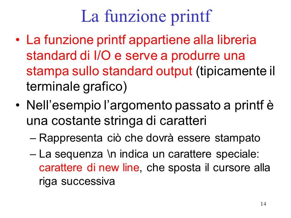 14 La funzione printf La funzione printf appartiene alla libreria standard di I/O e serve a produrre una stampa sullo standard output (tipicamente il