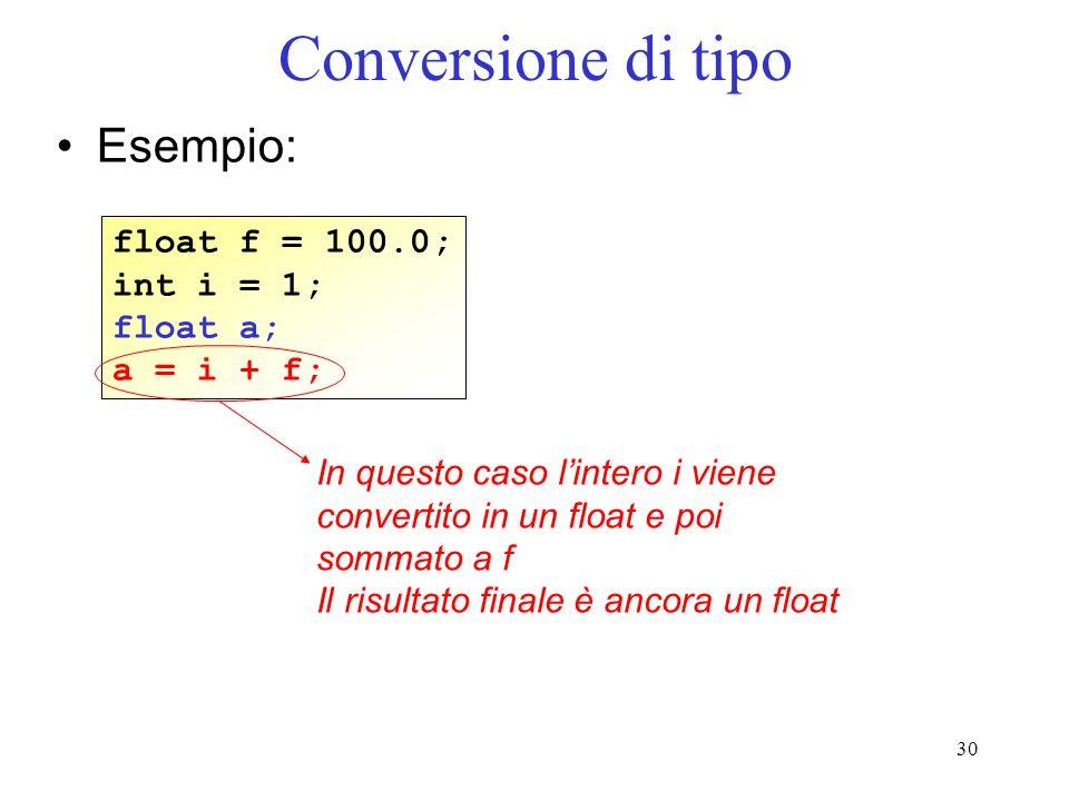 30 Conversione di tipo Esempio: float f = 100.0; int i = 1; float a; a = i + f; In questo caso lintero i viene convertito in un float e poi sommato a
