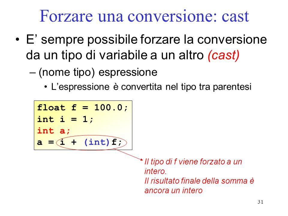 31 Forzare una conversione: cast E sempre possibile forzare la conversione da un tipo di variabile a un altro (cast) –(nome tipo) espressione Lespress